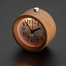 ECVISION Handmade Classic Small Round Silent table Snooze beech Wood Alarm Clock with nightlight (Light Woodgrain)