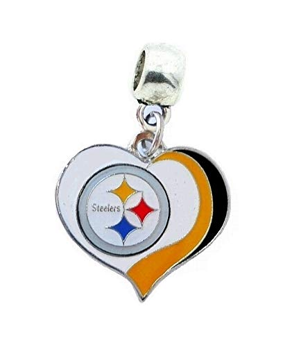Heavens Jewelry Pittsburgh Steelers Football Team Heart Charm Slider Pendant for Your Necklace European Charm Bracelet (Fits Most Name Brands) DIY Projects ETC