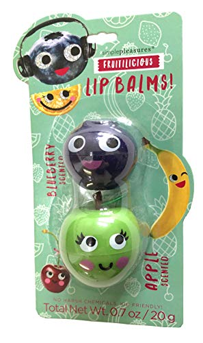 (Simple Pleasures Fruitilicious Lip Balm Pods 2 Pack - Blueberry & Apple Fruit Scented)
