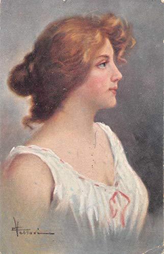 Lady in White Artist Signed Vintage Postcard JA455494