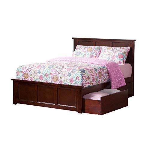 Walnut Double Bed - Atlantic Furniture AR8636114 Madison Solid Hardwood Full Walnut
