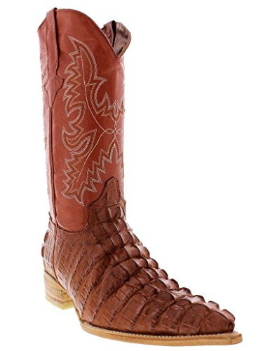 Team West - Men's Cognac Crocodile Tail Print Leather Cowboy Boots 3X Toe 9.5 D(M) US