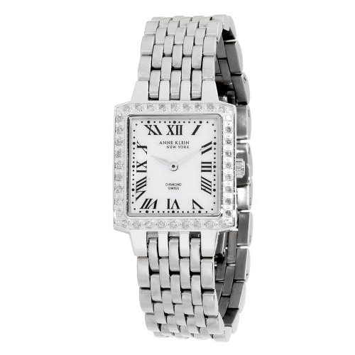Anne Klein New York Women's 121833WMSB Diamond Accented Silver-Tone Stainless Steel Square Dress Watch