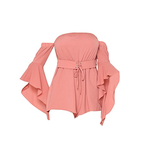 QHGstore Solid apagado hombro pagoda de manga larga Verano Rompers Mujeres playa trajes con cinturón un color