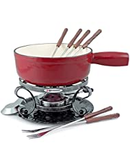 Swissmar Lugano 9 Piece Cheese Fondue Set in Cherry Red