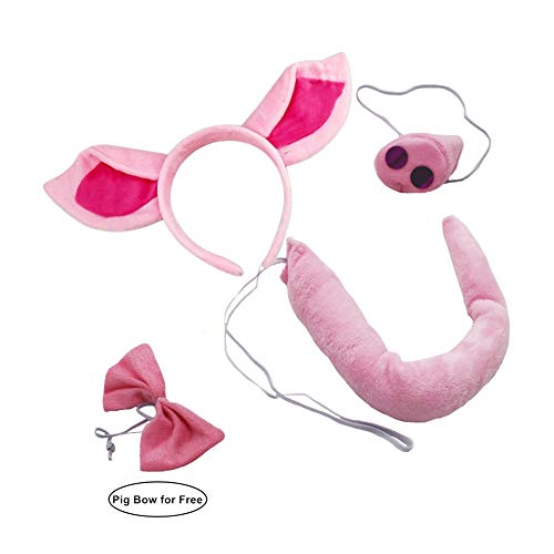 Calien Pig Ears Headband Nose and Tail Set Pig Costume Accessories -