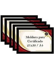 Kit 5 Porta Certificados Moldura A4 para Foto Pôster Quadro