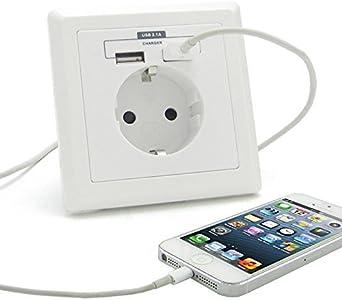 Montaje en pared enchufe Schuko enchufe de pared con 2 x conector USB, (no para la Gira System 55), universal-cargador para Smartphone, iPhone, MP3, Tablet, ricos electrónica: Amazon.es: Iluminación
