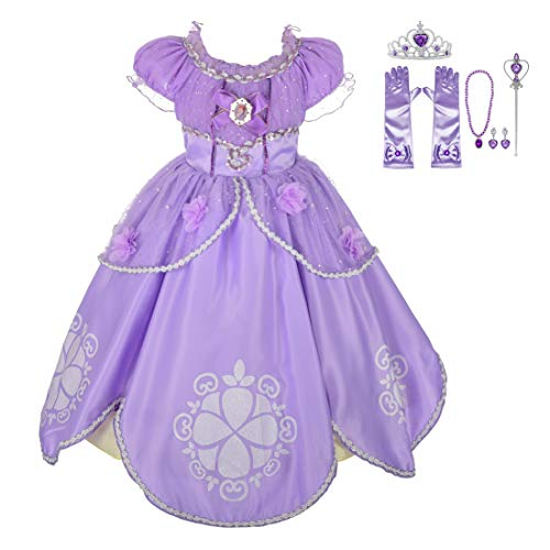 Lito Angels Girls' Princess Sofia The First Dress Up Costume Cosplay Fancy Party Dress Outfit with Accessories Size 3T -