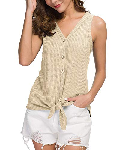 CASILY Summer Sleeveless V Neck Button Down Front Tie Knot Shirts Tops for Women Beige, XX-Large ()