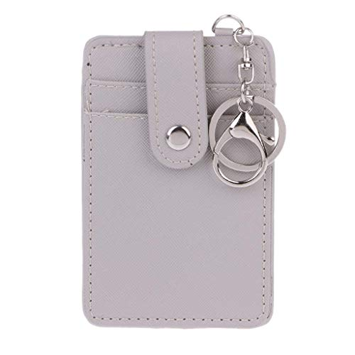 SimpleLif Soft Leather Travel Card Bus Pass Credit Card ID Card Wallet Cover Case Holder with Keychain Keyring Tool