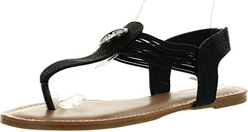 Top Moda Dress-65 Womens Strappy Open Toe Slingback Crystals Rhinestones Espadrille Flats Sandals,Black,10 (T-bar Flat Sandal)