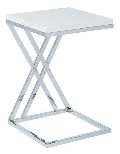 Work Smart/Ave Six WST16-WH-osp Wall Side Table, White/Chrome Finish