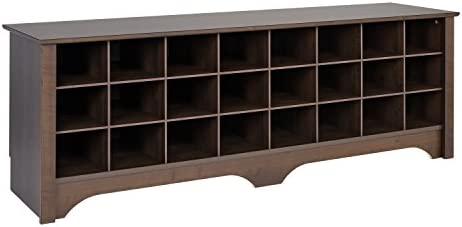 Prepac 24 Pair Shoe Storage Cubby Bench, Espresso