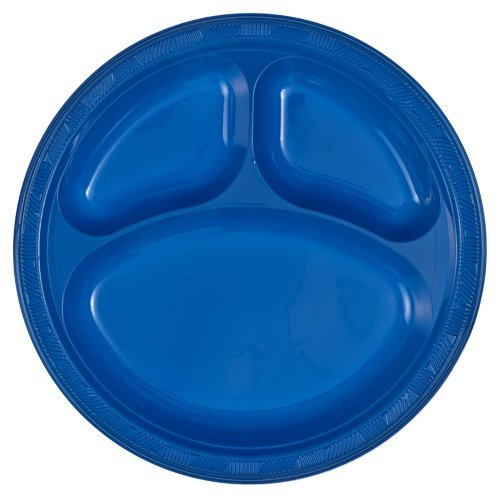 tiger chef round 10 inch plastic 3 compartment divided plates 16