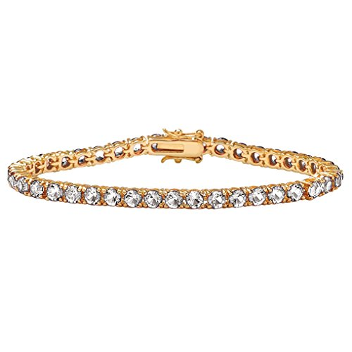 (Lux 18k Gold-Plated Round Simulated Birthstone Tennis Bracelet 7