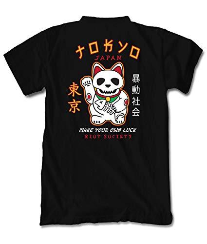 - Riot Society Japan Lucky Cat Skull Mens T-Shirt - Black, Small