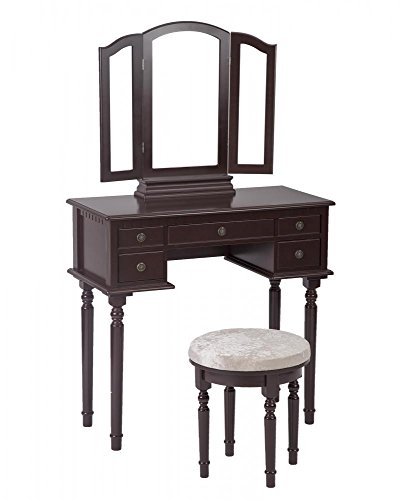 PayLessHere Makeup Vanity Table Set Tri-Folding Mirror Makeup Table With 5 Drawers by PayLessHere