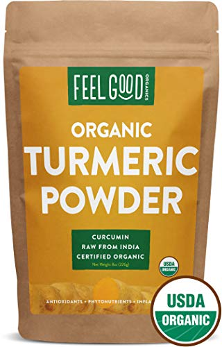 (Organic Turmeric Root Powder w/Curcumin | Lab Tested for Purity | 100% Raw from India | 8oz Bag by Feel Good Organics)