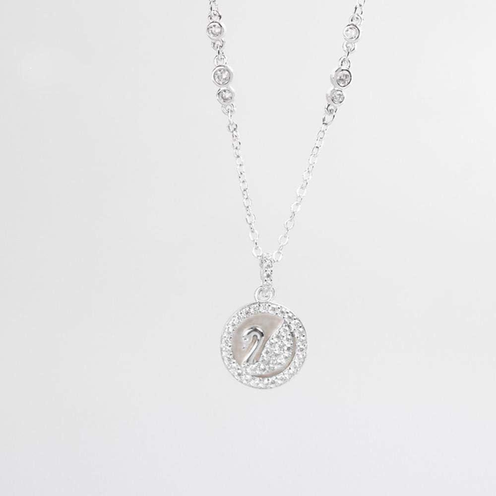 S925 Collar de Plata esterlina Pieza de Concha Collar de Cisne Blanco Cadena de clavícula Doble Cisne joyería Femenina