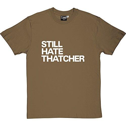 T34 Still Hate Thatcher Forest Green/Khaki Men's T-Shirts (White Print) XXL