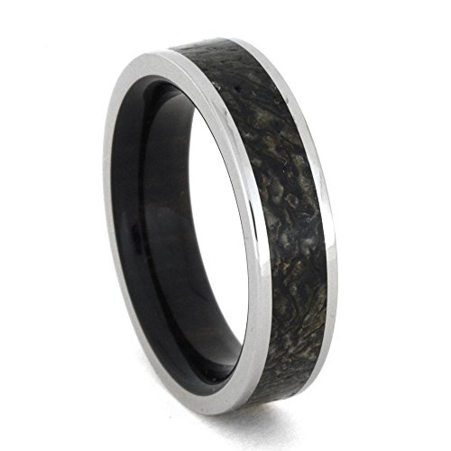 Dinosaur Bone, Ebony Wood 6mm Comfort-Fit Titanium Band, Size 9.5