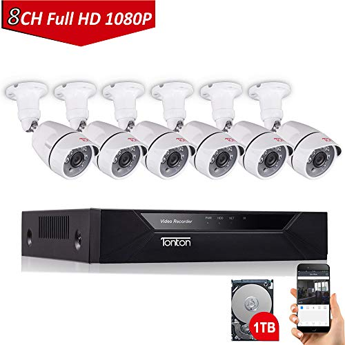 (Tonton 8CH Full HD 1080P Home Security Camera System, Surveillance DVR with 1TB Hard Drive and (6) 2.0MP 1920TVL Outdoor Indoor CCTV Bullet Camera,Customizable Motion Detection,Free App&Notifications)