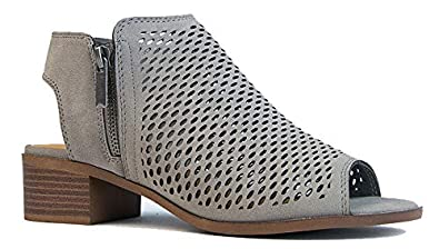 4f880befb0ec J. Adams Tracy Perforated Bootie – Casual Open Toe Low Heel - Cut Out Shoe