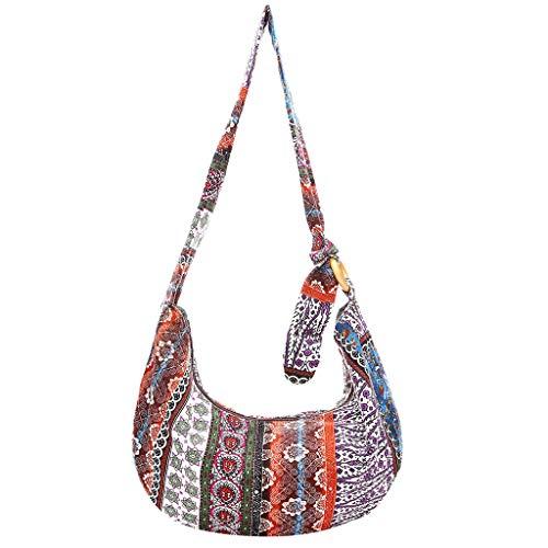 LUXISDE Women's Big Cloth Bag Hand Bag Bohemian Style Shoulder Bag Floral Canvas Bag ()