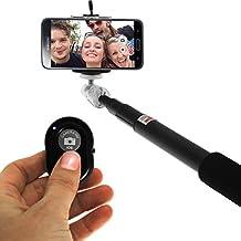 iGadgitz Black Extendable Self Portrait Selfie Monopod Stick + Adjustable Phone Holder for Samsung Galaxy A9 A8 A3 A5 Alpha, S7S7 Edge, S6 S6 Edge, S5 S5 Mini, S4 S4 Mini, S2 S3 Mini, S2, Ace 2 3 4