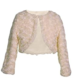 Sweet Kids Girls Swirl Pattern Faux Fur Bolero Ivory 12 (CO3B)
