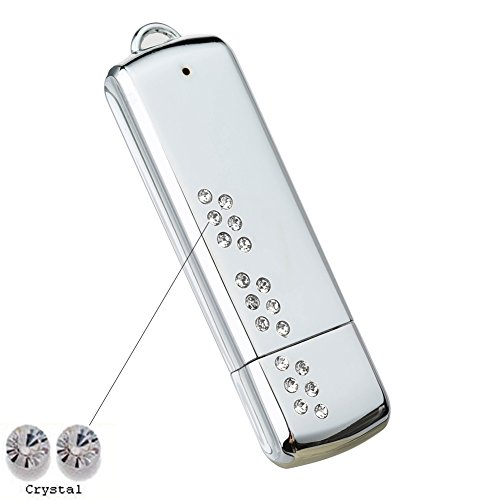 Price comparison product image Faost Design 32Gb Swarovski Crystal DM328932 Heavy Mirror Chrome Metal Case Handmade Flash Drive Memory Stick Pendrive Thumb,External Storage Device Crystal (White)