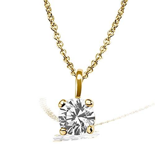 Goldmaid-Pa Chaîne avec pendentif Solitaire Jana Collier Jana Solitaire 0,10ct. Or jaune 585Diamant 0.10ct blanc taille brillant 45cm-So c6732gg