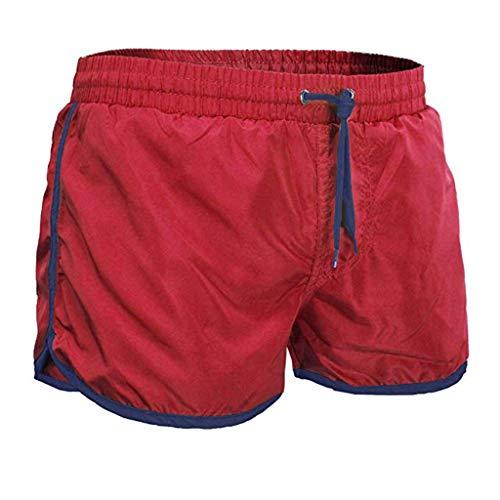 TANGSen Mens Casual Summer Pants Drawstring Fashion Athletic Short Pants Beach Swim Elastic Waist Leisure Pants Red