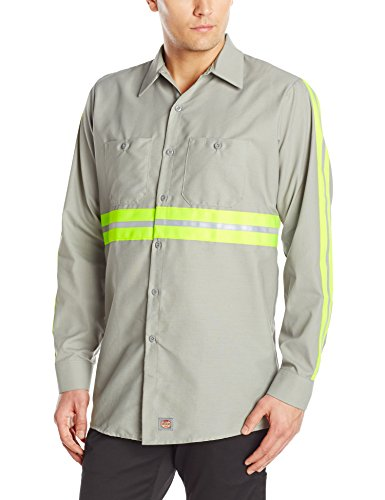 Red Kap Men's Enhanced Visibility IndustrialWork Shirt , Grey with Yellow/Green Visibility Trim,  X-Large (Cotton Poplin Field Shirt)