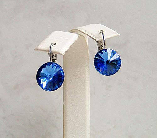 Blue 11MM Simulated Sapphire Blue Round Crystal Leverback Earrings September Birthstone Gift Idea SS