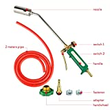GOGOLO Dual Switch MAPP Gas Torch Spray Trigger Gun Set, Propane Torch Kit with 2Meter Hose Quick Fitting for Melting, Welding, BBQ, Heating