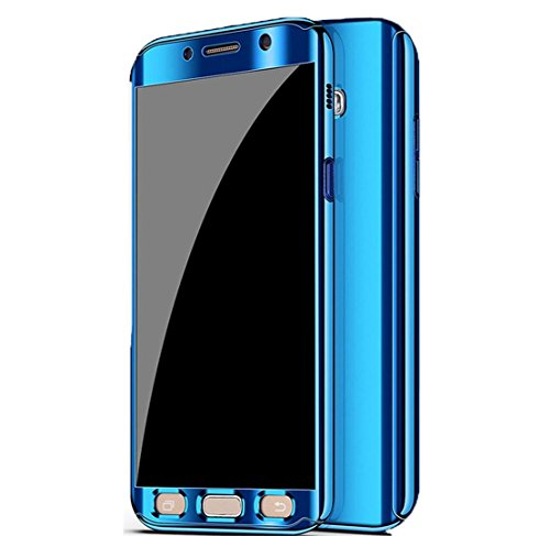 Galaxy Note 8 Case, Ultra Slim Electroplate 360 Degree Full Body Protection Mirror Case With Tempered Glass Screen Hard PC Protector For Samsung Galaxy Note 8 (Blue)