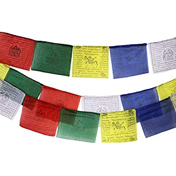 Tibetan Prayer Flag 10 x 10 Inches Large Roll of 25 Flags - Traditional Design with 5 Element Colors - Lung Ta Wind Horse Outdoor Flag - Handmade in Nepal