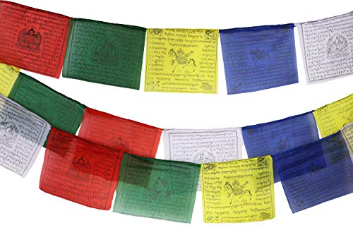 (Tibetan Prayer Flag 10 x 10 Inches Large Roll of 25 Flags - Traditional Design with 5 Element Colors - Lung Ta Wind Horse Outdoor Flag - Handmade in Nepal)
