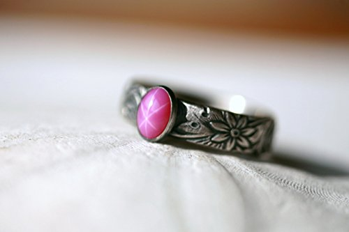 Ruby-Star-Sapphire-and-Sterling-Silver-Ring-on-Floral-Pattern-Antique-Silver-gunmetal-finish-Lab-Created