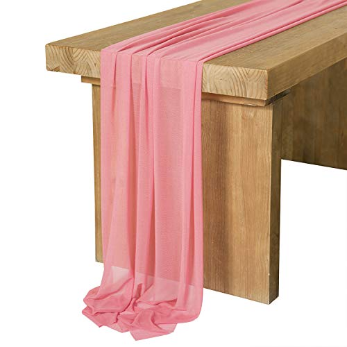 Ling's moment Chiffon Table Runner 27x120 Inches Sheer Table Runner Rustic French Chic Wedding Party Bridal Shower Decorations (10Ft Long, Light Cedar) -