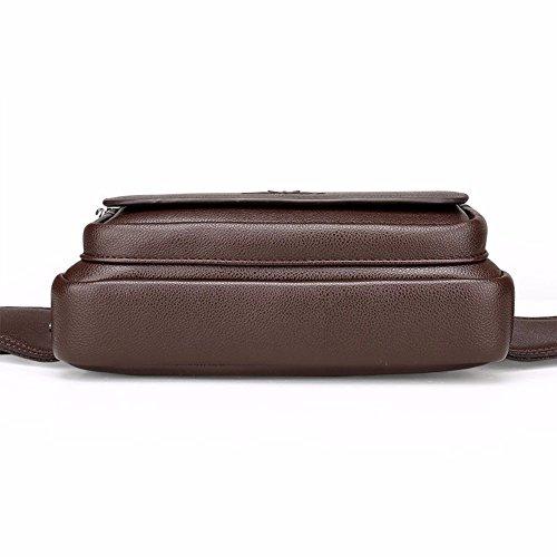 de cintura Solo Brown cuero de capacidad transversal de Brown bolsillo Phone bolsa Surnoy los gran de de Bag Brown Black sección pecho hombres ocio Mobile de hombro Bolso zw7n44dq