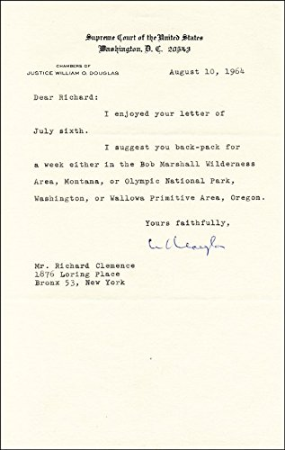 Associate Justice William O. Douglas - Typed Letter Signed - Signed Typed