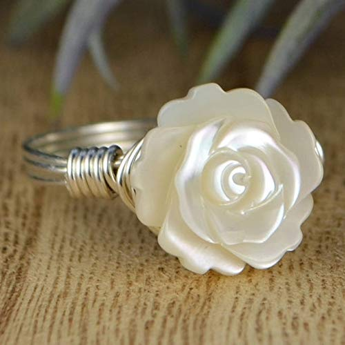 Carved White Mother of Pearl Rose Flower Sterling Silver Wire Wrapped Ring- Custom made to size 4-14