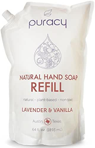 Puracy Natural LIQUID Hand Soap 64 oz Refill, Sulfate Free Hand Wash, Lavender and Vanilla, 64 Ounce Pouch
