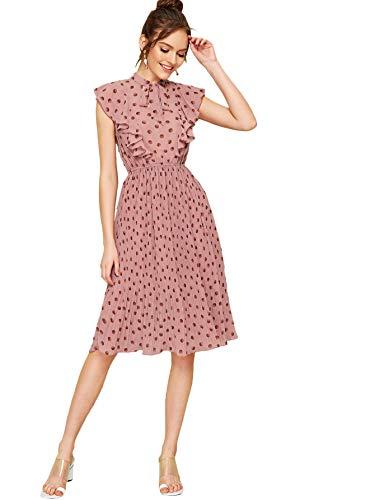 Verdusa Women's Polka Dot Tie Neck Ruffle Trim A-Line Flowy Swing Dress Pink S