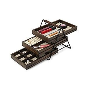Umbra Terrace Jewelry Tray – Three-Tier Jewelry Tray With Three Sliding Linen Lined Wood Trays With Metal Frame and Handle, Easy Storage and Access, Black/Walnut Finish