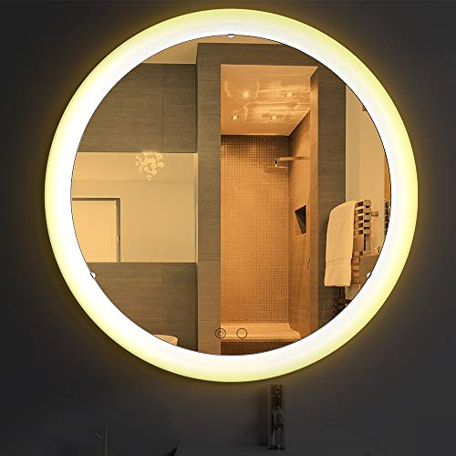 Nitin Wall Mounted Vanity Mirror with Light, Modern Circle Makeup Mirror with - Lightning Bathroom Mirrors