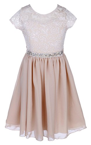 Easter Champagne (iGirlDress Girls Floral Lace and Chiffon Flower Girl Dress Champagne Size8)